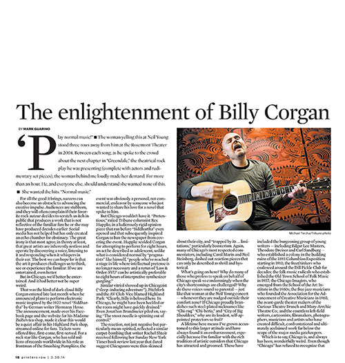 The Enlightenment of Billy Corgan, Printers Row
