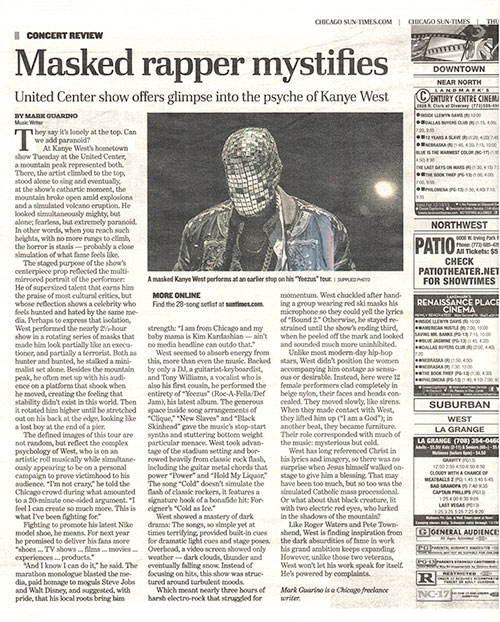 Masked Rapper Mystifies, Chicago Sun-Times
