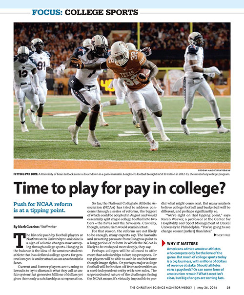 Time to play for pay in college? Christian Science Monitor