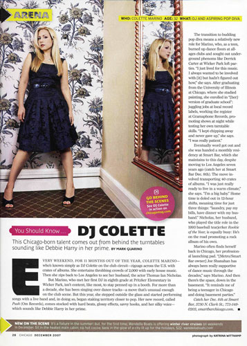 DJ Colette, Chicago Magazine